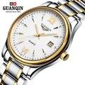 Homens marca de luxo GUANQIN relógio de Quartzo Novos homens da moda Relógio Ocasional relógio Vestido masculino relógio de Pulso de Aço Inoxidável relógio Luminoso