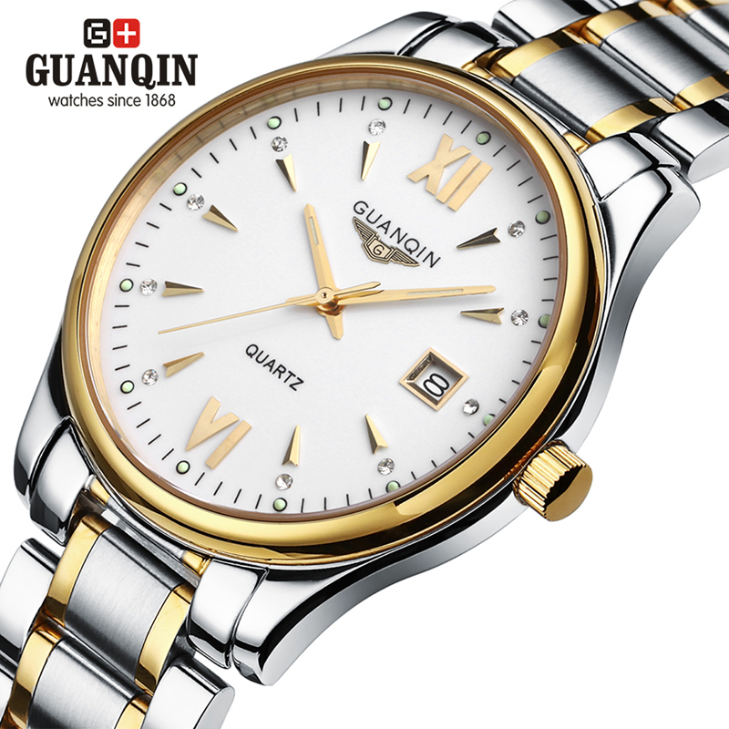 ФОТО Men luxury brand GUANQIN watch New fashion Men's Quartz Casual Watch Dress watch male Stainless Steel Wristwatch Luminous clock