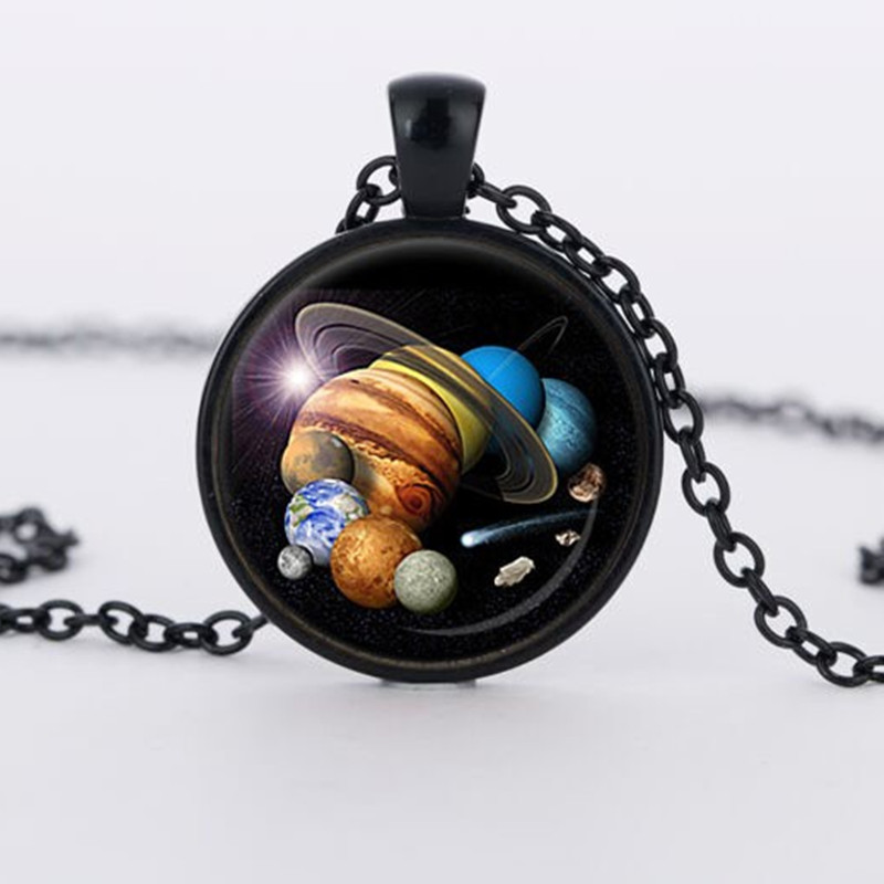New SOLAR SYSTEM PENDANT Astronomy Pendant Space Jewelry galaxy Necklace Planet Jewelry Multicolor Geek Gift 1
