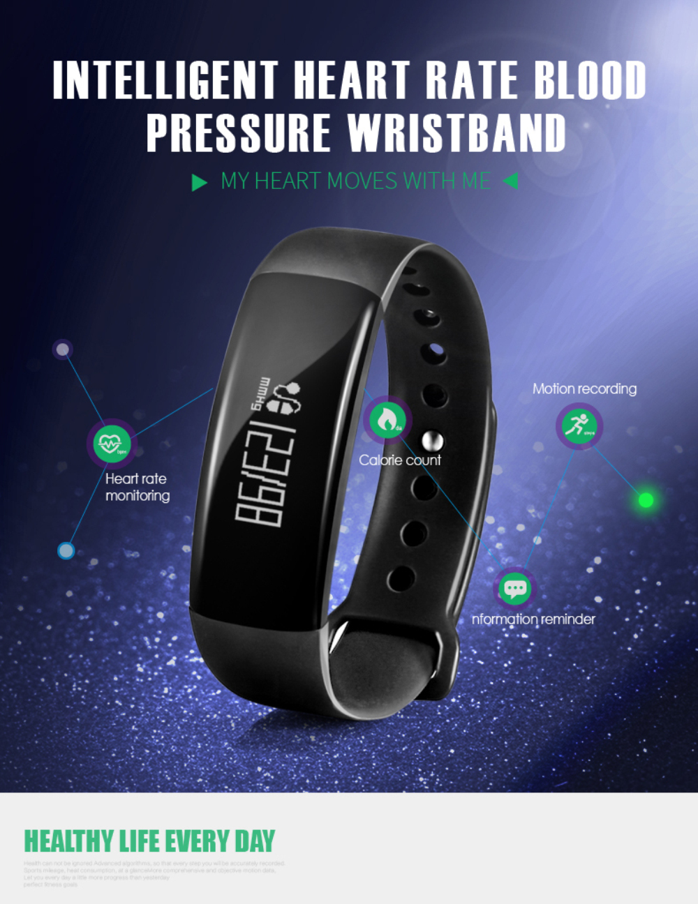 FIZILI M88 Smart Wrist Blood Pressure Wristwatch Pulse Monitor Fitness Tracker Smartband for IOS Android Bracelet