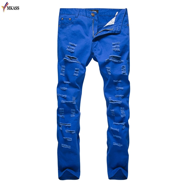 0e3ff4391b US $23.09 30% di SCONTO Hot New Jeans Strappati Uomini Con Fori Scarni  Famoso Designer marca Slim Fit Jeans Distrutti Torn Pantaloni Per Uomo  Denim ...