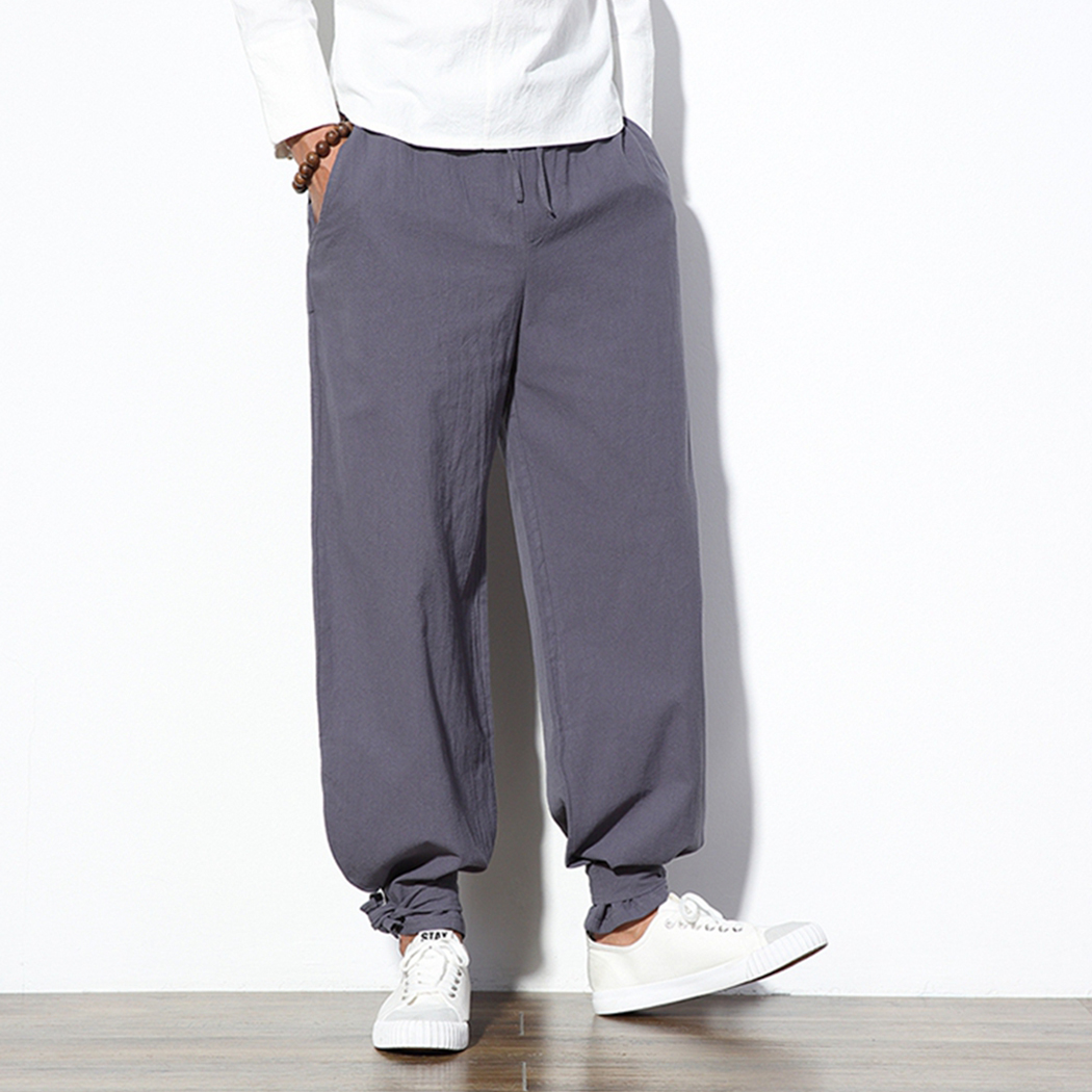 Harem-Pants Traditional-Cloths Casual-Trousers Cotton Linen Chinese-Style Male Baggy