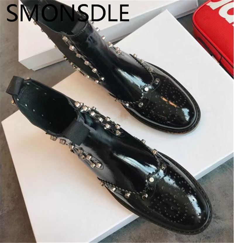 SMONSDLE New Genuine Leather Black Women Ankle Boots Round Toe Metal Studded Slip On Women Autumn Winter Martin Boot Shoes Woman huizumei new genuine leather women s boots autumn and winter shoes retro handmade round toe soft bottom rubber ankle ladies boot