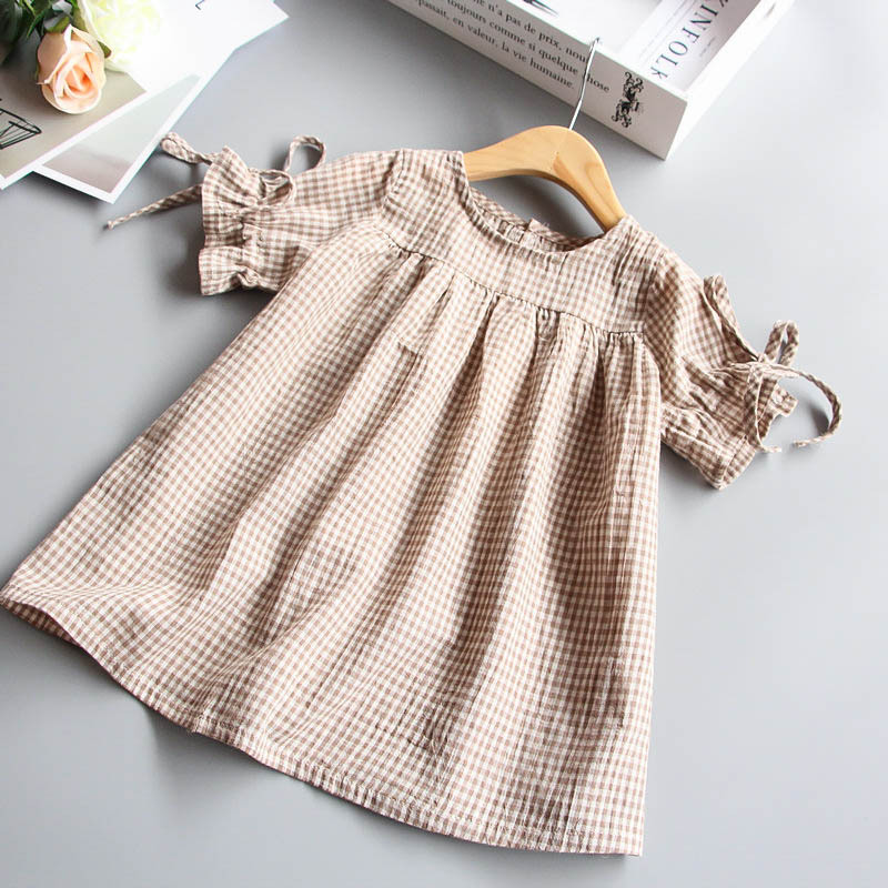 0-5 Y Vintage Kids Baby Girls Dress Shirts 2018 New Fashion Loose Plaid Summer Dresses O-neck Short Sleeve Princess Dress Z239 v neck plaid twist front mini dress