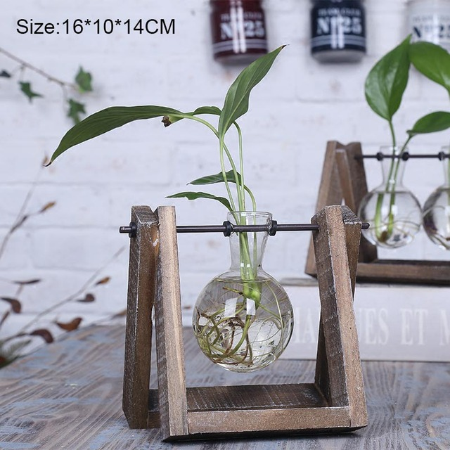 Wooden Tabletop Glass Vase Water Flower Vase Home Decoration Country