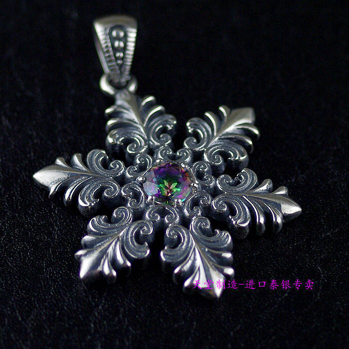 Imported from Thailand girls section 925 sterling silver inlaid Zircon Thai silver Snowflake Pendant 925 sterling silver zircon double eagle head imported silver ring
