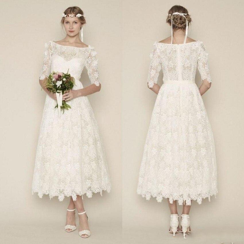 2017 New Fashion A Line Scoop Lace Half Cap Sleeve Zipper Wedding