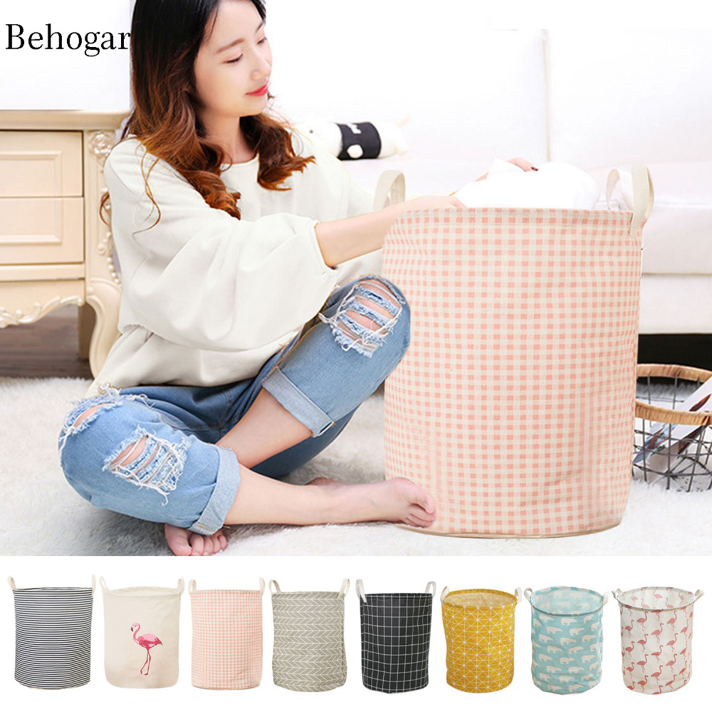 Behogar 35*45cm Foldable Fresh Cotton Laundry Basket Dirty Clothes Books Storage Organizer Holder Box Pouch Barrel Bag For Kids