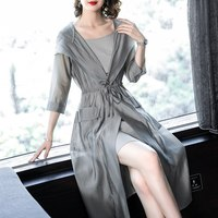 2018 Summer Sunscreen Coat Jacket Women Beach Half Sleeve Thin Hooded Drawstring Long Windbreaker & Strap Dress Two Pieces Set
