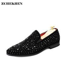 2017 Fashion Roud Toe Rhinestone Diamond Men Loafers Men Dress Shoes Zapatillas Zapatillas Hombre Casual Chaussure Black Shoes