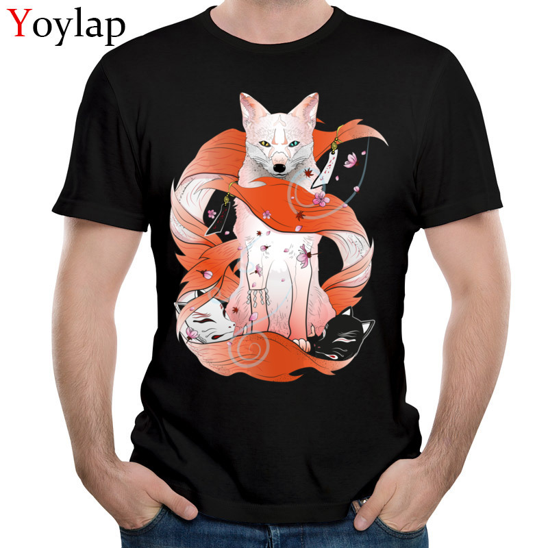 Chic Red Kitsune T Shirt Naruto T-shirt Men Tshirt Summer Tops Japan Anime Tees Mens Clothing Black Color Hip Hop Streetwear