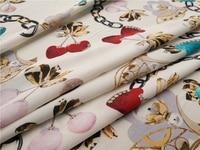 100% Silk Crepe de Chine Fabric Pearl Chain Printing Fashion Dress Shirt Design Fabric