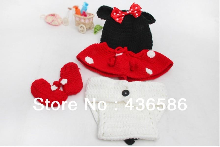 5 sets mano crochet minnie mouse de la historieta gorros sombreros ...