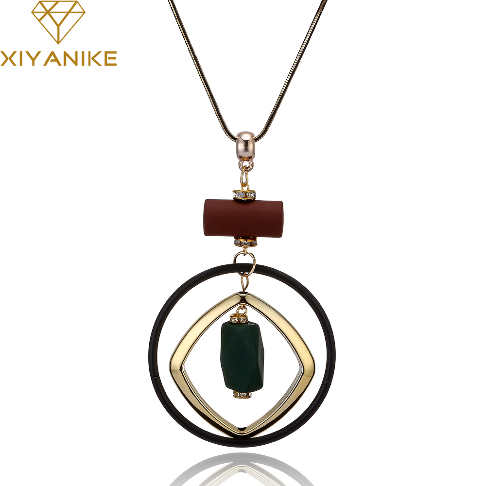 XIYANIKE 2017 Hot Sale Fashion Trend Bohemian Style Acrylic Necklace Fashion Choker Jewelry For Women Necklace & Pendant XY-N113