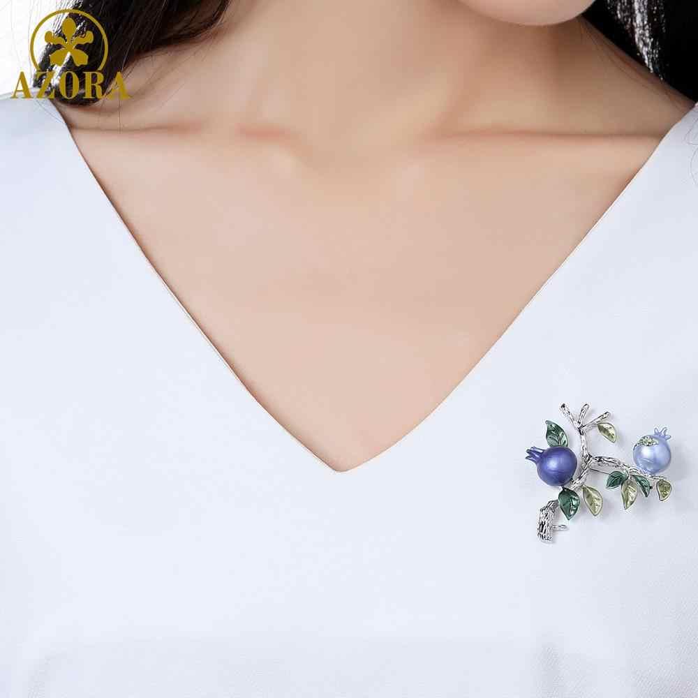 Azora Panggang Cat Pohon Delima Bros Pin Crystal Kostum Pakaian Perhiasan Aksesoris Perhiasan Bros untuk Pernikahan TP0088