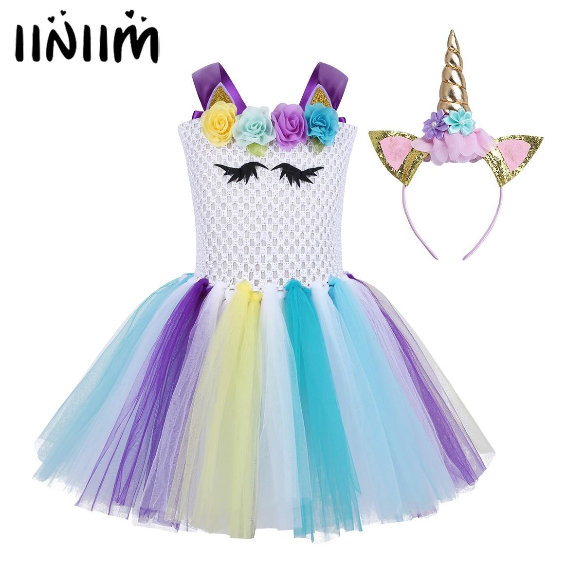 iiniim Children Girls Princess Cosplay Costumes Dress Halloween Costume for Kids Tutu Dress Up Fancy Party Carnival Clothing