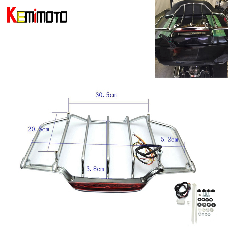 Motorcycle Motor Parts Air Wing Chrome Top Luggage Rack Kit with LED Light for Tour Pak