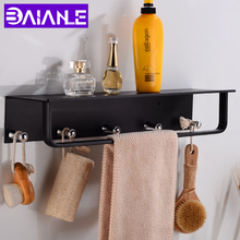 Bathroom Shelf Corner Aluminum Bathroom Shelves Shower Storage Rack with 5 Hooks Wall Mounted Single Towel Bar Holder Black стоимость