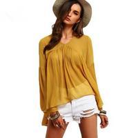 New Summer Women Fashion Casual V Collar Folded Irregular Speaker Sleeve Cool Loose Top Chiffon Shirt