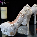 Novos Cristais de Ultra Plataforma de salto alto Sapatos de Casamento de Cristal Estética Pérola sapatos de Noiva Sapatos de Diamante Sapatos de Senhora Festa de Casamento