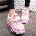 Japanese Harajuku zapatos de las mujeres dulces colores mezclados zapatos de plataforma retro Aumentó dentro de los zapatos creepers x511 35