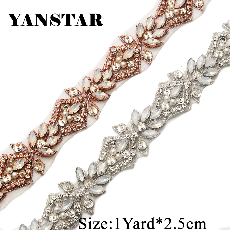 YANSTAR 1 Yard Handmade Opal Rhienstone Applique Rose gold Bridal Belt Trim  Iron On Wedding Dress Belt YS912-in Rhinestones from Home   Garden on ... 7bfba31db99c