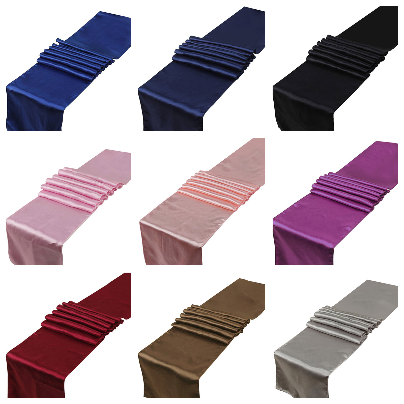 25PCS Satin Table Runners Wedding Party Event Home Decor Supply Satin Fabric Chair Sash Bow Table