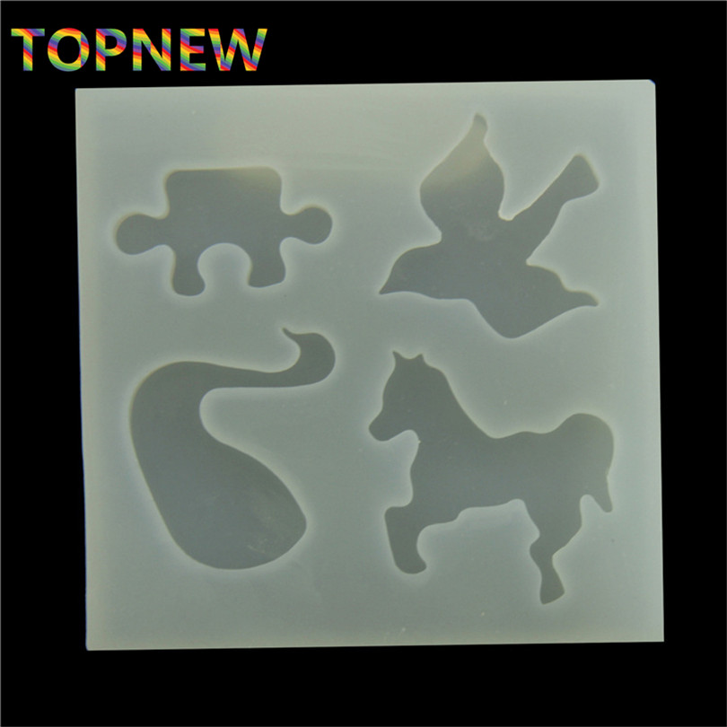 Swan Bird Horse Jigsaw Puzzle Silicone Mold Polymer Clay Craft Cupcake Topper Fondant Craft Jewelry Resin Mould