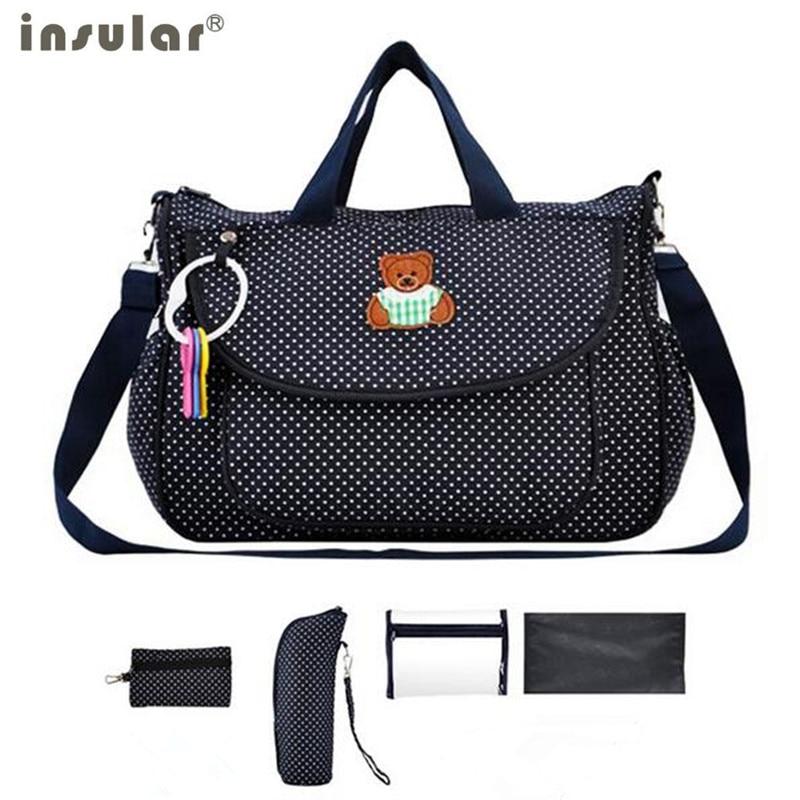 Insular 4 PCS SET Baby Nappy Bags Diaper Bag Mother Shoulder Bag Hot Maternity Mummy Handbag