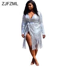 cea039d3ff1 Silver Sequined Tassels Long Cardigan 2019 Casual Women Glitter Long Sleeve  Loose Basic Outerwear Streetwear Ladies Maxi Jacket