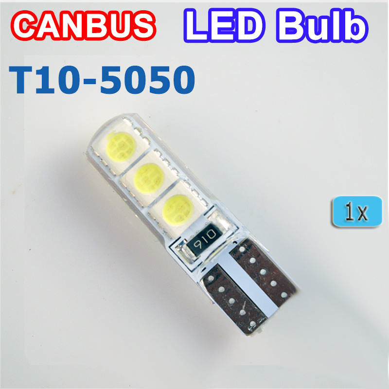 flytop T10 194 W5W 6SMD 5050 Silicone shell LED Lights Bulb Canbus Car LED 1 PCS car led 1pcs t10 194 w5w dc 12v canbus 6smd 5050 silicone shell led lights bulb no error led parking fog light auto car styling