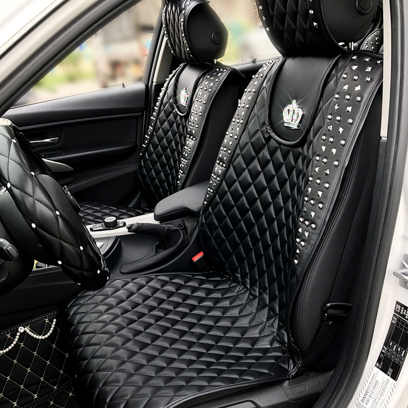 Cool Punk Style Rivets Crown Leather Car Seat Covers Universal Auto Interior Seat Cushion Accessories 1pcs Front Seat Pads kkysyelva universal leather car seat cover set for toyota skoda auto driver seat cushion interior accessories