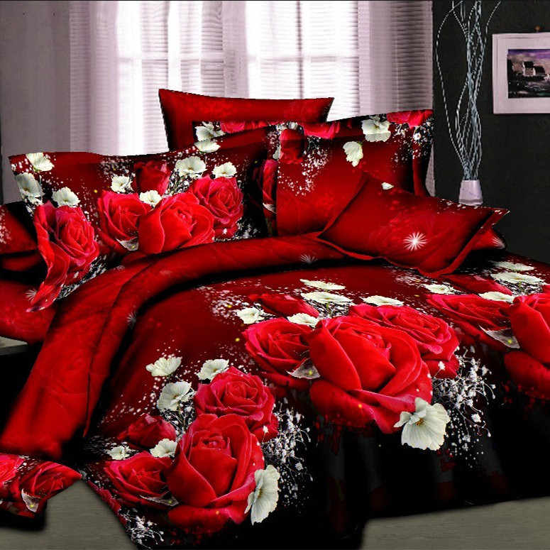 UNIHOME home Cheap 3D Bedding Set Flower Queen Twin Size 3D /bedset cotton/duvet cover set bed sheet