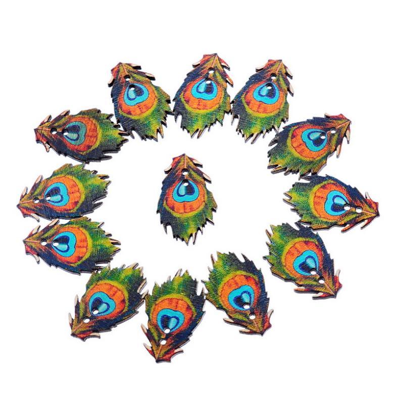 ᗑ】2x50 unids madera Botones multicolor Plumas patrón Costura DIY ...