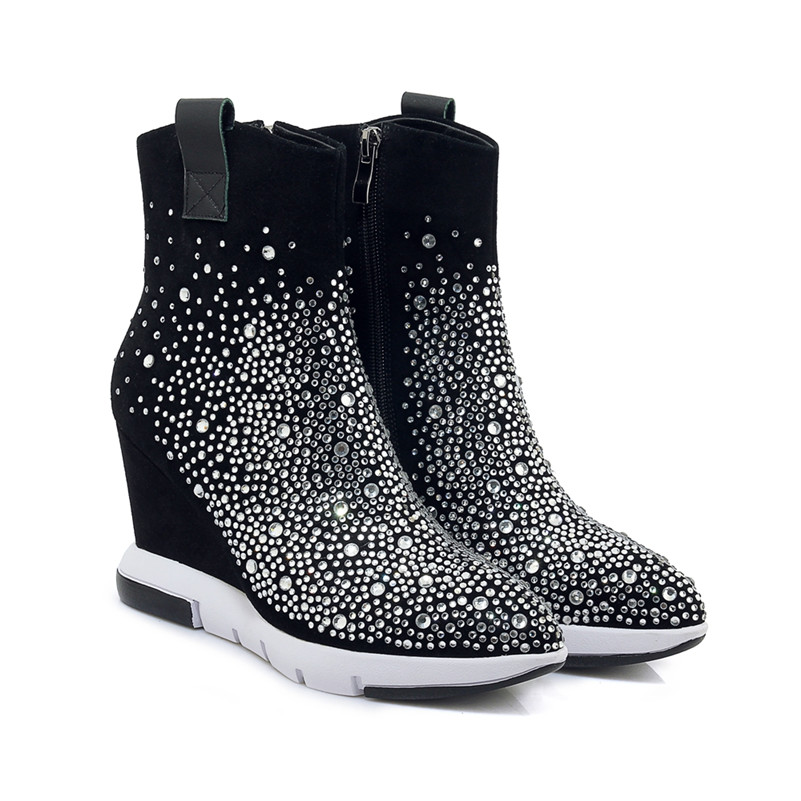 af9ca7cad9 FEDONAS Top Quality Rhinestone Women Ankle Boots Wedges High Heeled Autumn  Winter Wedding Party Shoes Woman Zipper Dancing Shoes