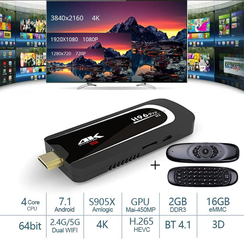 H96 Pro H3 Mini PC Amlogic S905X Tv Box Quad Core Android 7.1 TV Dongle 2GB16GB 2.4G/5.G WiFi BT4.1 1080P 4K HD TV StickH96 Pro H3 Mini PC Amlogic S905X Tv Box Quad Core Android 7.1 TV Dongle 2GB16GB 2.4G/5.G WiFi BT4.1 1080P 4K HD TV Stick