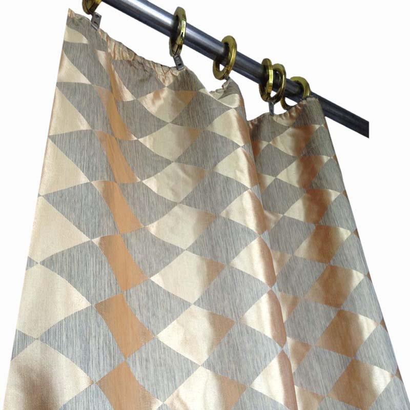 80cm 280cm Gold Jacquard Curtain Fabric Diamond Pattern Decorative