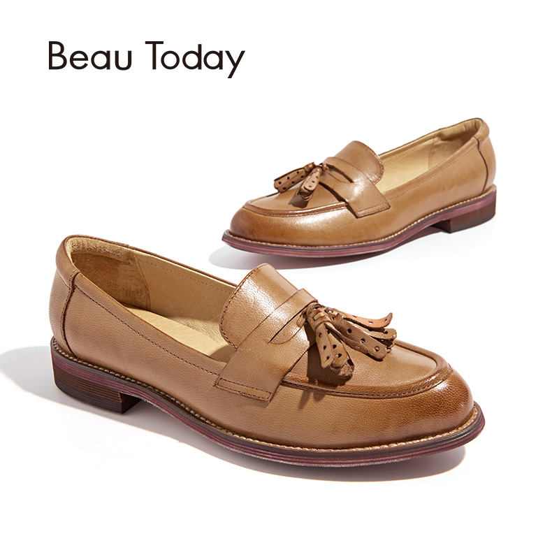 Beautoday Пенни-Лоферы женские кисточки из натуральной овечьей кожи Мокасины с острым носком без застежки на плоской подошве обувь ручной работ...