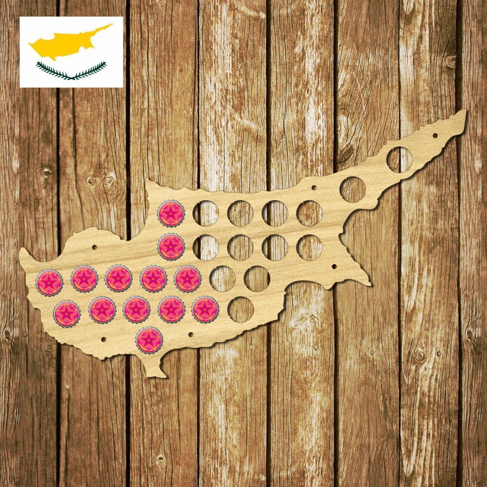 1Piece Cyprus Beer Cap Map Wooden Craft Beer Cap Display Wall Art ...