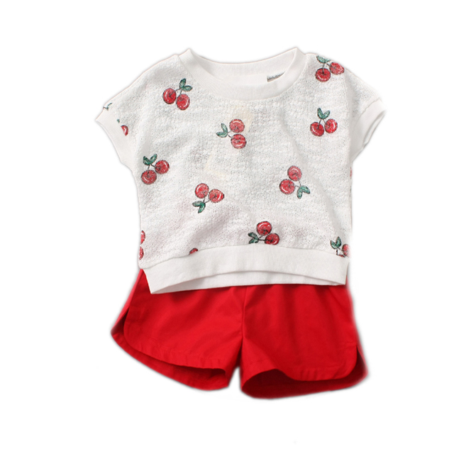 kids clothes 2016 summer baby girl clothes sets top hole cherry printed short sleeve t shirt+solid red shorts girls summer sets