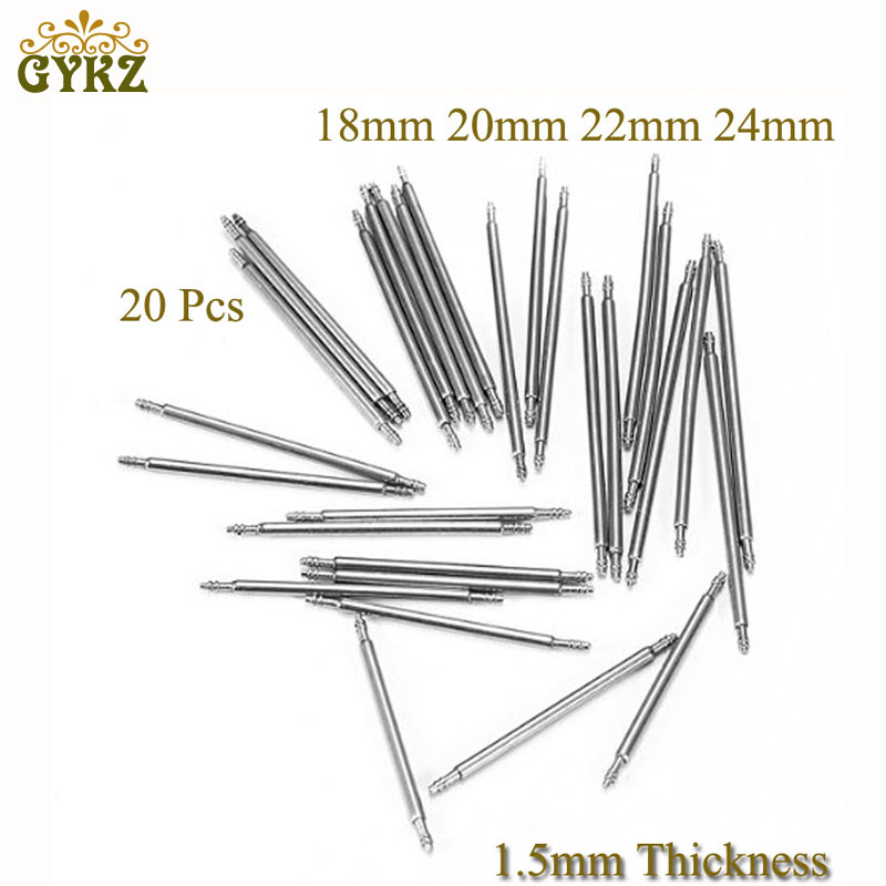 20pcs 1.5mm Stainless Steel Watch Band Strap Spring Bar Pins Repair Watchmaker Link Pins Remove Tools 18mm 20mm 22mm 24mm Sliver 10pcs 10 24mm watch band spring bars strap link pins repair watchmaker tools 10mm 12mm 13mm 14mm 15mm 16mm 18mm 20mm 22mm 24mm