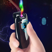 New Metal Windproof Electronic Usb Charging Cigarettes Lighter Double Arc Plasma Pulse Personality LED Power Display Lighters