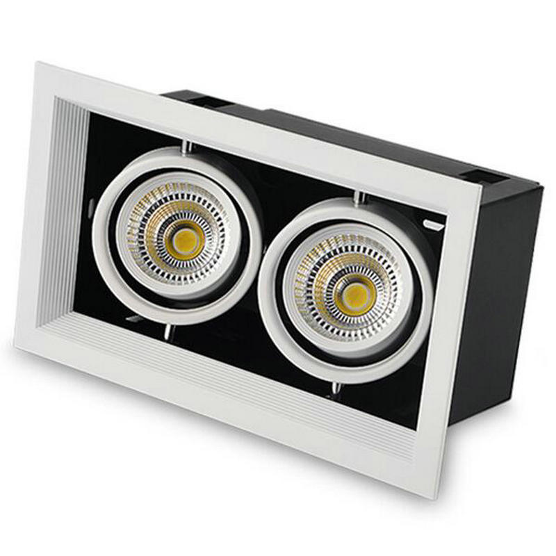 Carré lumineux encastré Double LED Dimmable carré Downlight COB 2*12W LED Spot décoration plafonnier AC 110V 220V