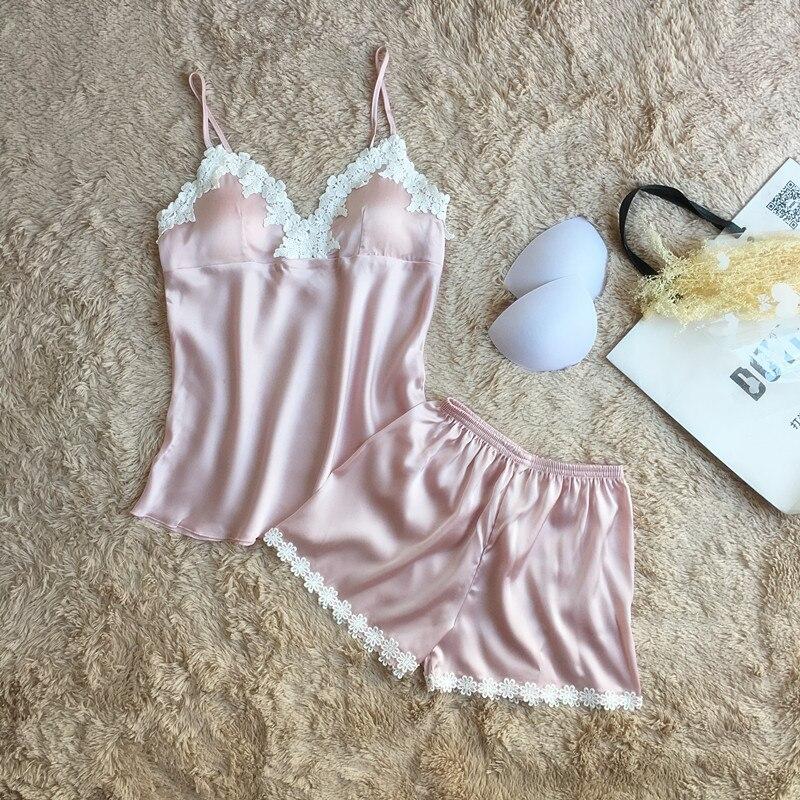 Fiklyc Brand Pajamas Sets For Women Fashion Lace Satin Pijama Summer Nightwear Sexy Lingerie Pajamas Pyjamas Women Homewear New #5