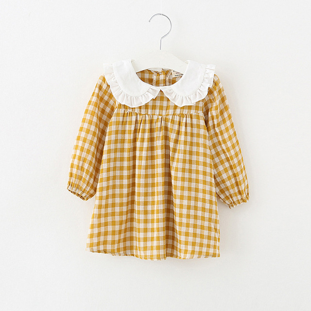 2018 Spring New Pretty Girls Dress Lovely Plaid Print Long Sleeve Ruffles Collar Kids Dress Baby Girl Clothes Princess Dresses