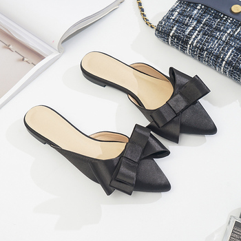 Pointed toe half slippers Female summer fashion wear 2019 new Bow Low lazy flat bottom Sandals women's shoes