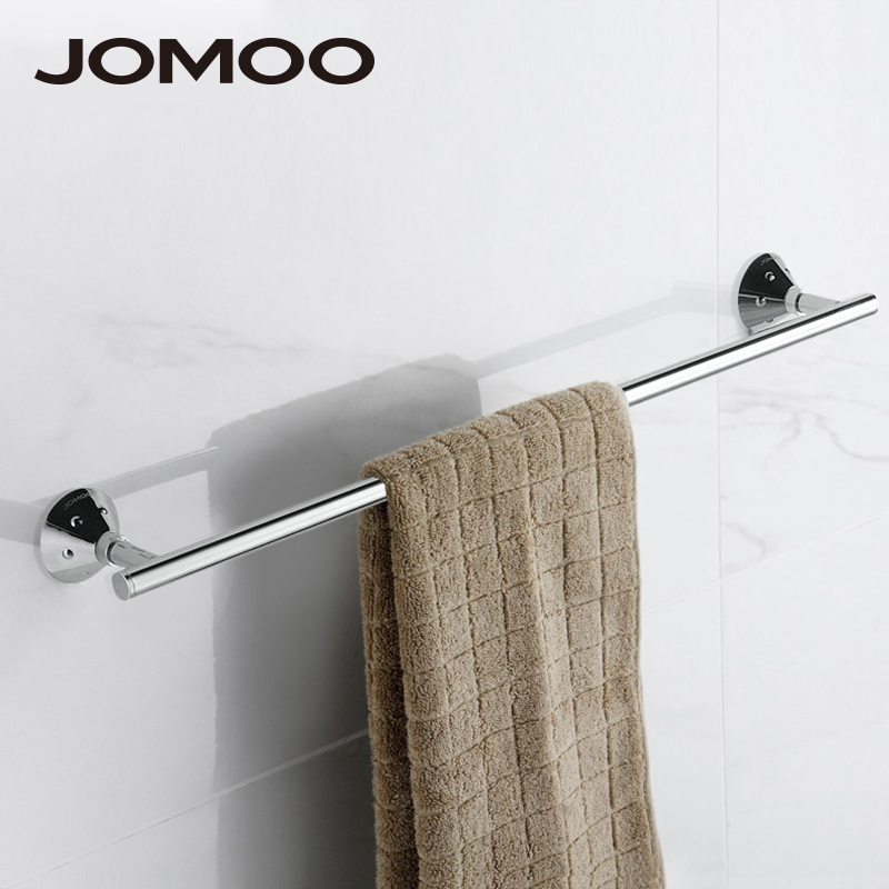 JOMOO Brass chrome simple Wall-Mounted single Towel Bar Holder Finished Bathroom Accessories Towel Hanger Rack free shipping polished chrome bathroom towel rack holder wall mounted swivel towel bar hanger