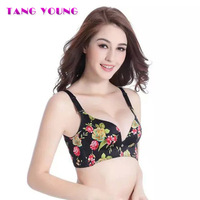 TANG YOUNG Brand Deep V Neck Bra Women Seamless Floral Printing Intimate Black Bra Sexy Romantic