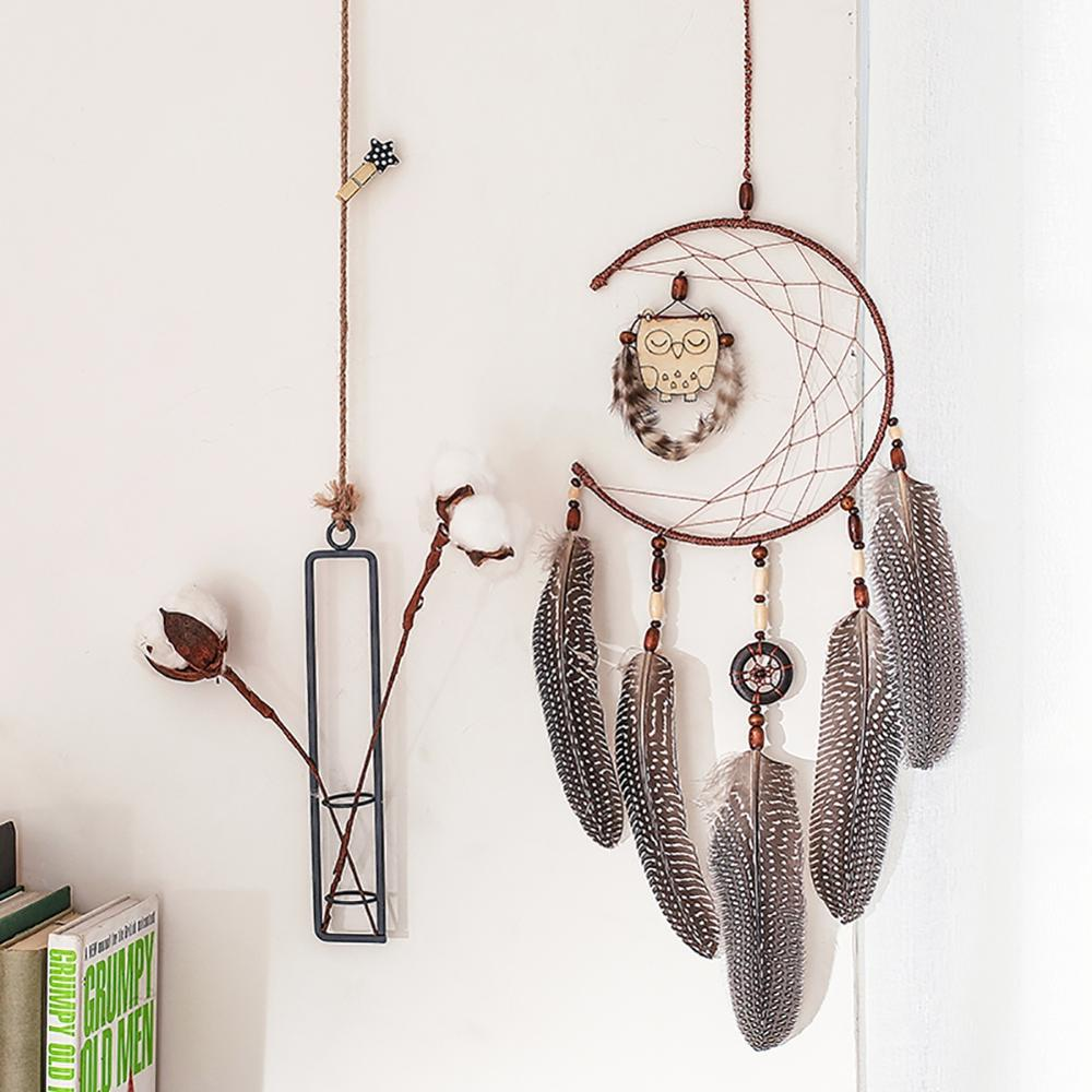 Retro Dream Catcher Hollow Wind Chimes Wall Hanging Decoration Handmade With Feather Lace Dreamcatcher Bead Party Ornament