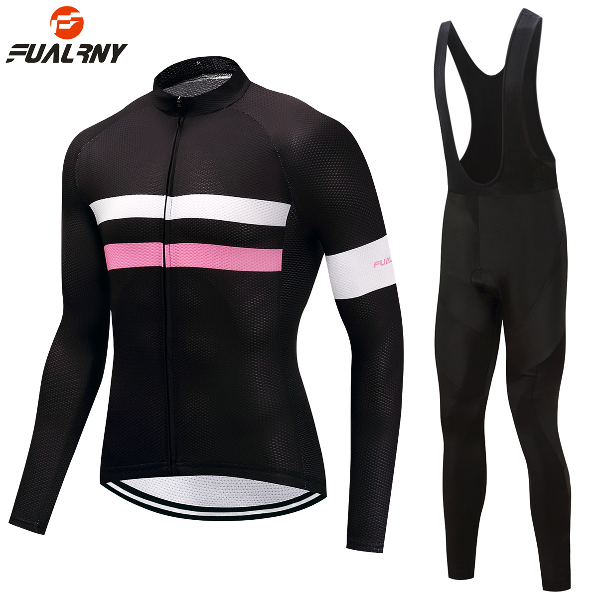 FUALRNY 2018 Pro Men Women Long Sleeve Cycling Clothing Black Mtb Bike Cycling Jersey Bib Pants Set Ropa Ciclismo Invierno Mujer teleyi black red ropa ciclismo maillot trouser mtb bike jersey bib pants set men cycling clothing suit riding long sleeve jacket